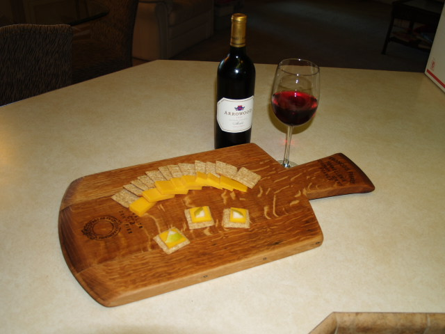 Cheese and Bread Cutting Board w/Carved Hande