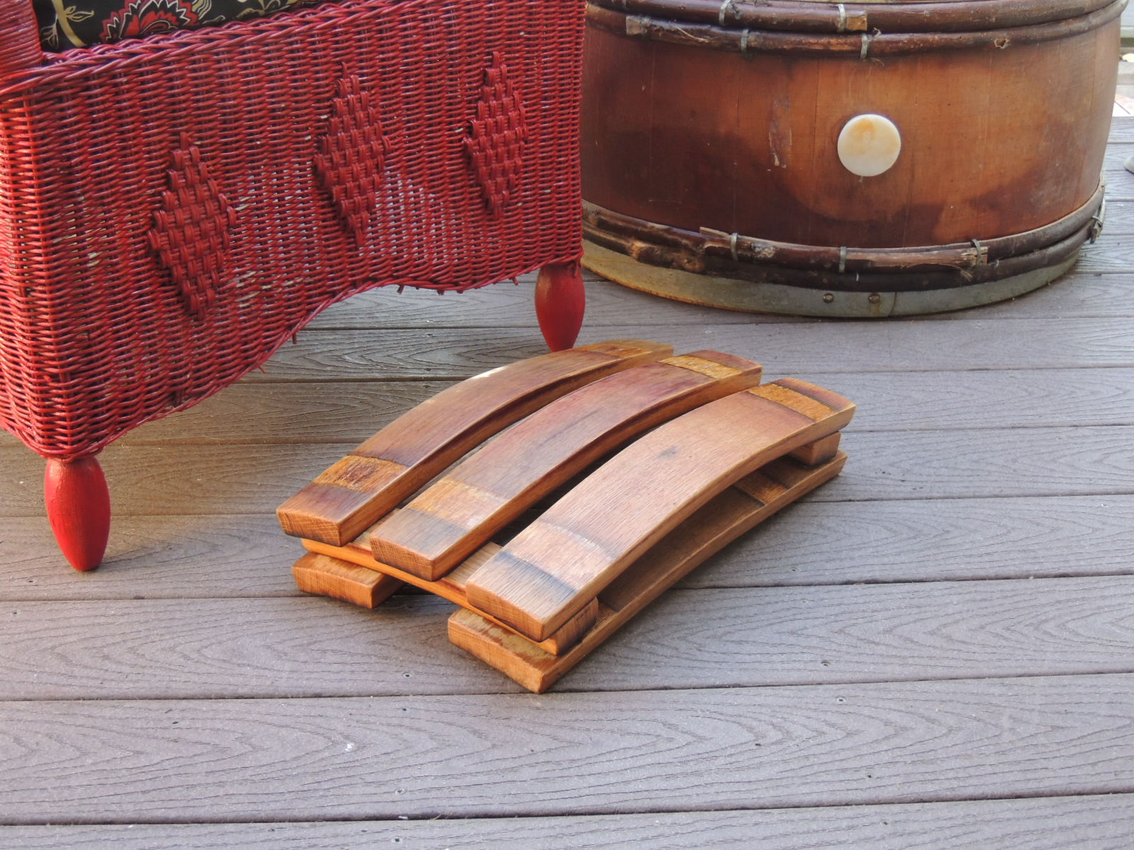 Wine Barrel Stave Foot Rest Varnished